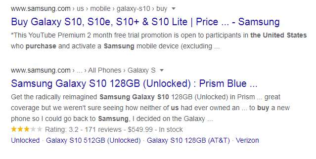 rich snippets showing schema difference